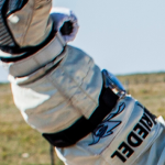 The picture shows Felix Zenith Stratos El Primero Chronograph on his right arm just after landing