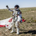 Felix Baumgartner just after his Red Bull Stratos jump today. On his right arm you can see the Zenith Chronograph