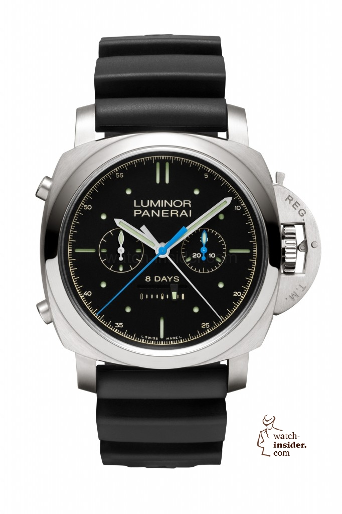 "Panerai ""Luminor 1950 Rattrapante 8 Days Titanio"": A new split second chronograph in a titanium case with the in-house calibre ""P.2006/3"""