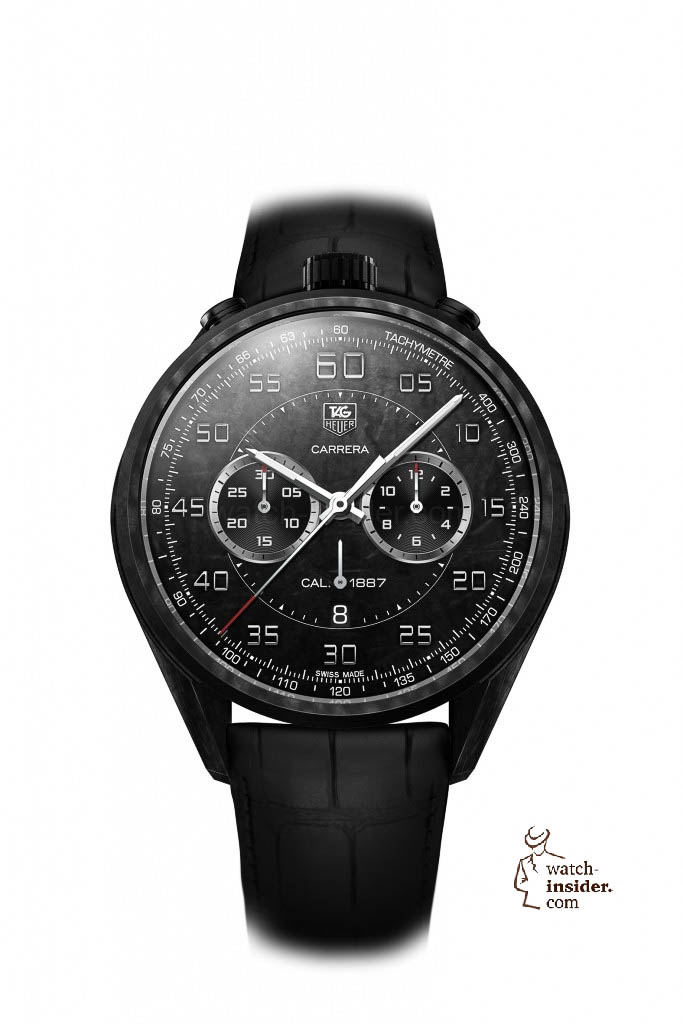 www.watch insider.com | reportages news  | In Geneva TAG Heuer presented the lightweight Carrera Carbon Calibre 1887 Concept Chronograph and its little brother | 1 TAG Heuer CARRERA CARBON 1887 CONCEPT CHRONOGRAPH WHITE 683x1024