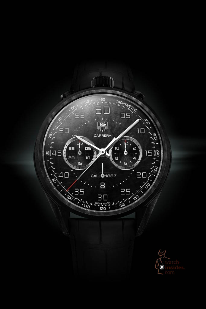 www.watch insider.com | reportages news  | In Geneva TAG Heuer presented the lightweight Carrera Carbon Calibre 1887 Concept Chronograph and its little brother | 2 TAG HEUER CONCEPT GENEVE MUSHROOM black 683x1024