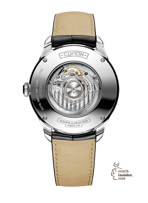www.watch insider.com | news  | Baume & Mercier presented Clifton at the SIHH 2013 in Geneva | BAUME ET MERCIER CLIFTON 10055 BACK