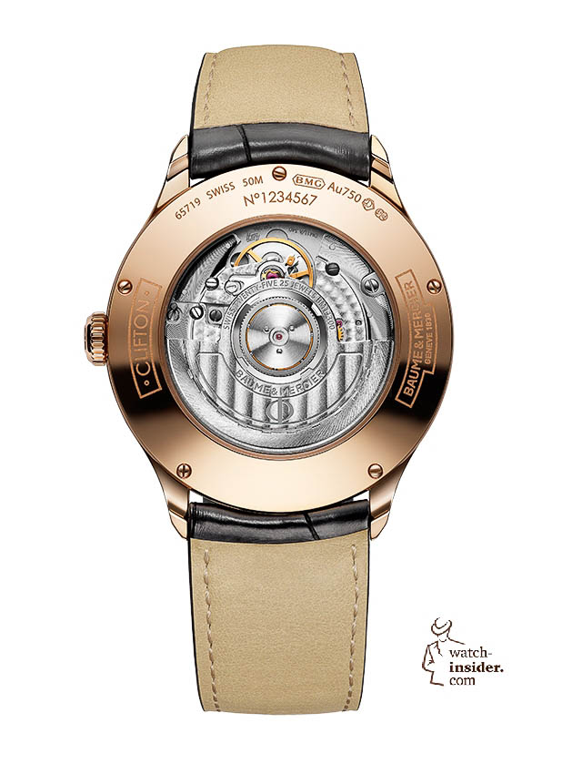 www.watch insider.com | news  | Baume & Mercier presented Clifton at the SIHH 2013 in Geneva | BAUME ET MERCIER CLIFTON 10058 BACK