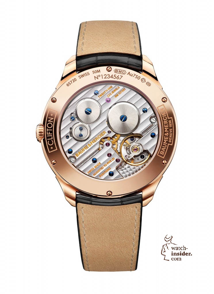 www.watch insider.com | news  | Baume & Mercier presented Clifton at the SIHH 2013 in Geneva | BAUME ET MERCIER CLIFTON 1830 10060 BACK 744x1024