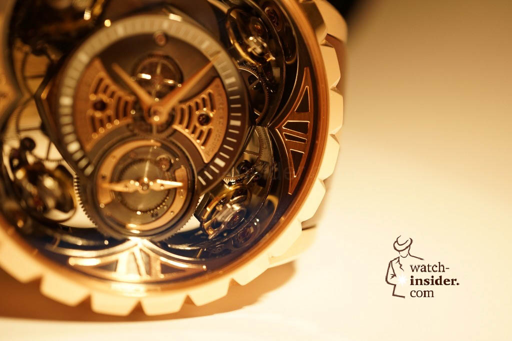www.watch insider.com | reportages news  | Here comes a cool video and cool pictures! Jean Marc Pontroué, CEO Roger Dubuis, showing me the Excalibur Quatuor.  | DSC1665 1024x683