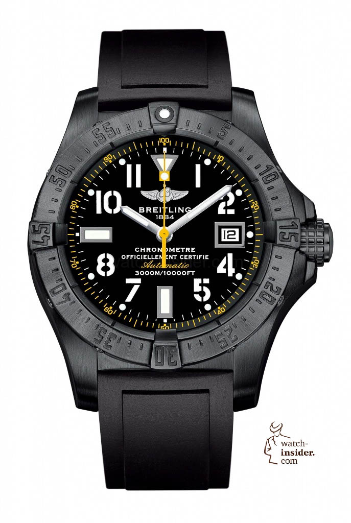 www.watch insider.com | reportages  | Black is beautiful! Black is still a dominant colour used for watch design. Tell me which one is your personal favorite | Breitling Avenger Seawolf Blacksteel 687x1024