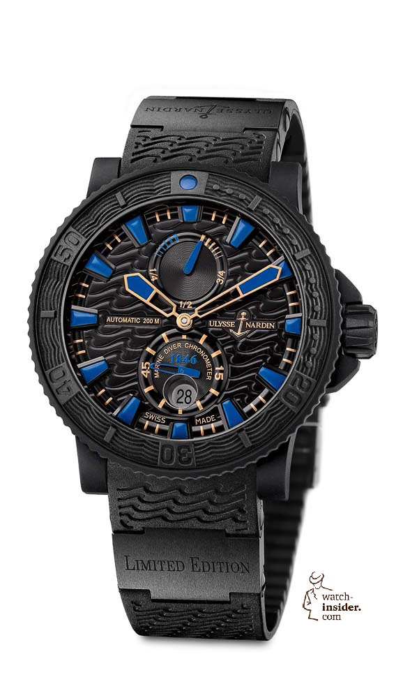 www.watch insider.com | reportages  | Black is beautiful! Black is still a dominant colour used for watch design. Tell me which one is your personal favorite | Ulysse Nardin Maxi Marine Diver