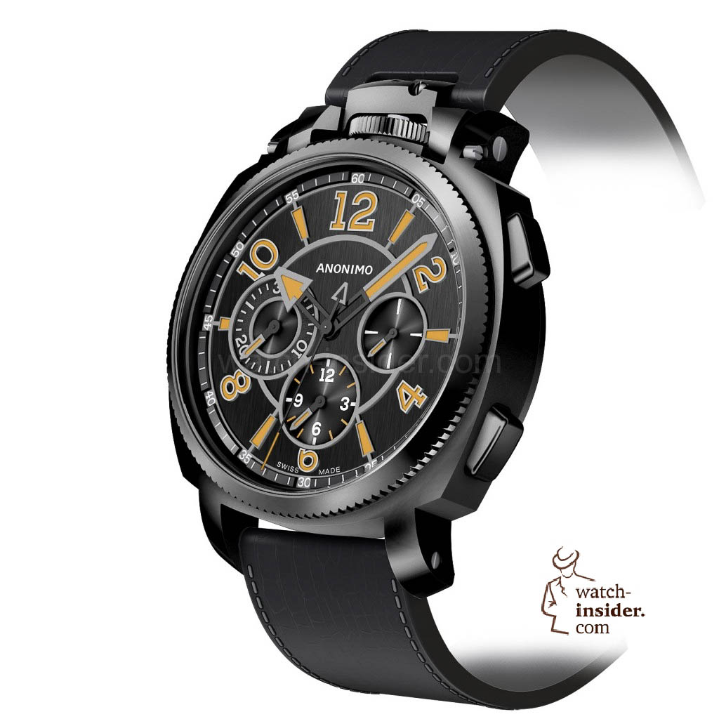 www.watch insider.com | news  | Baselworld 2013 preview: The rebirth of Anonimo | MILITARE chrono cadran A2 top noir brosse vertical pers 1024x1024