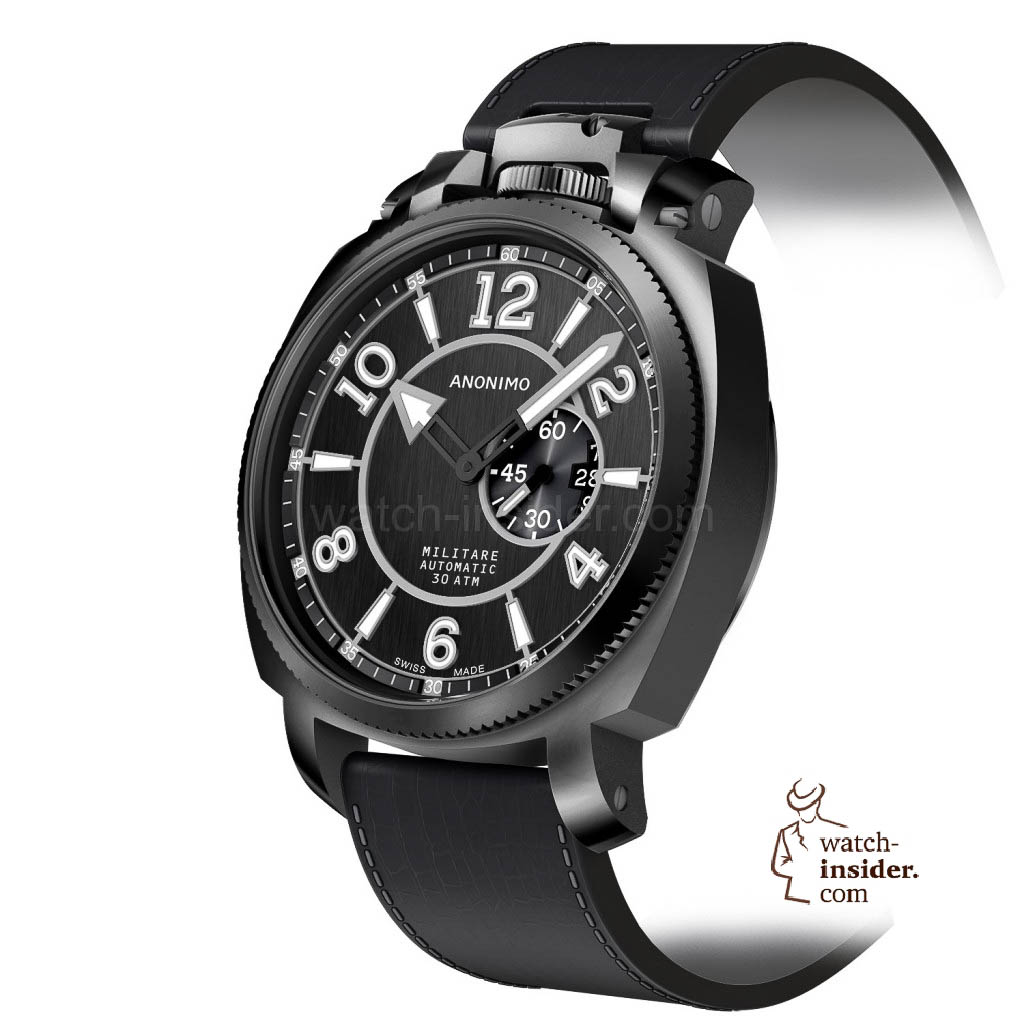 www.watch insider.com | news  | Baselworld 2013 preview: The rebirth of Anonimo | MILITARE classic cadran A3 top noir brosse vertical pers 1024x1024