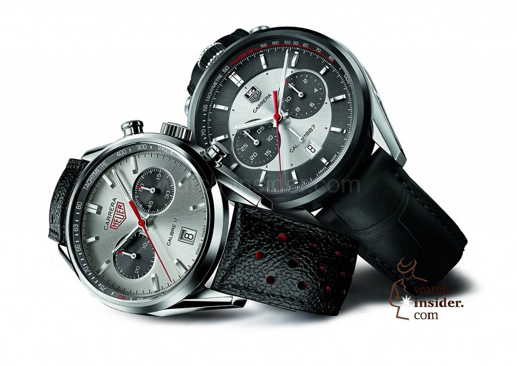 www.watch insider.com | reportages  | TAG Heuer – 50 years of Carrera | CAR2C11 and CV2119 TAG HEUER CARRERA JACK HEUER EDITIONS 2012 AND 2013 MOOD PACKSHOT ON WHITE BACKGROUND 1024x726