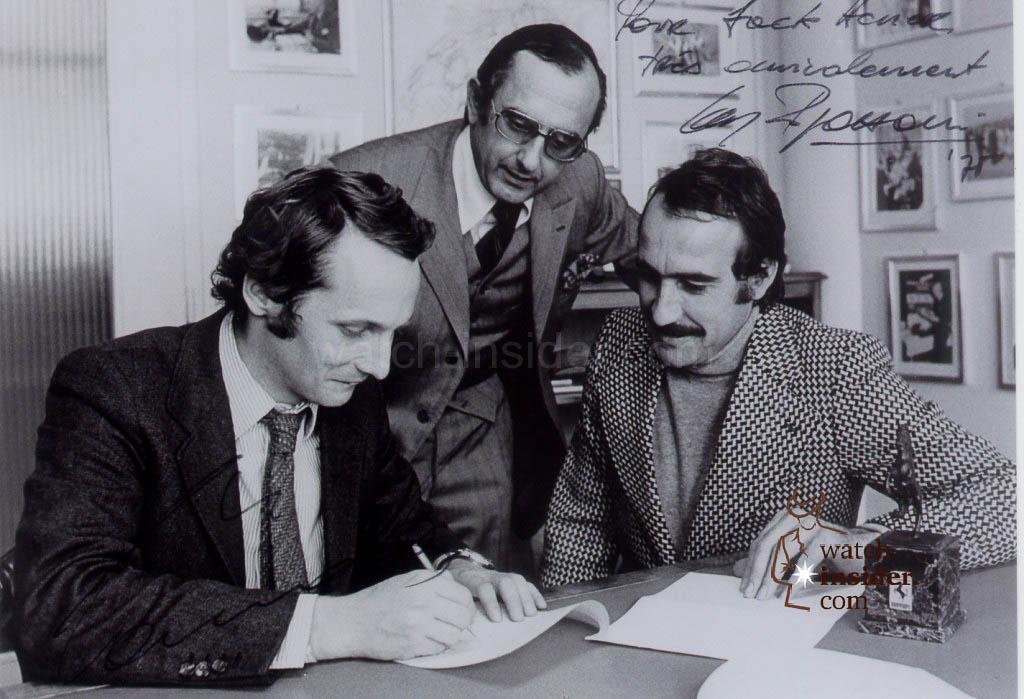 www.watch insider.com   reportages    TAG Heuer – 50 years of Carrera   Jack W. Heuer mit Niki Lauda und Clay Regazzoni 1 1024x699