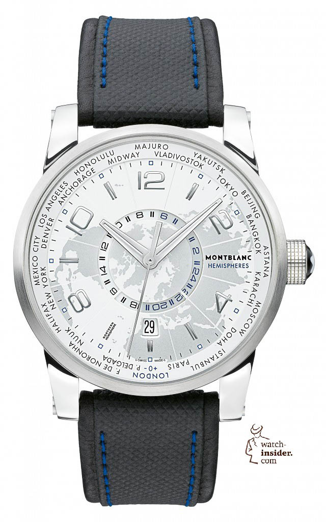 www.watch insider.com | videos reportages news  | To accomplish my series of Montblanc videos I invite you to discover the TimeWalker World Time Hemispheres and the TimeWalker Voyager UTC | Montblanc 108955 TimeWalker World Time Hemispheres Northern Hemisphere front 640x1024