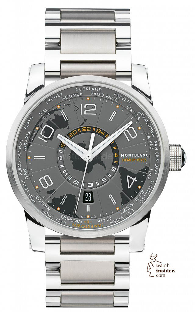 www.watch insider.com | videos reportages news  | To accomplish my series of Montblanc videos I invite you to discover the TimeWalker World Time Hemispheres and the TimeWalker Voyager UTC | Montblanc 108956 TimeWalker World Time Hemispheres Southern Hemisphere front 640x1024