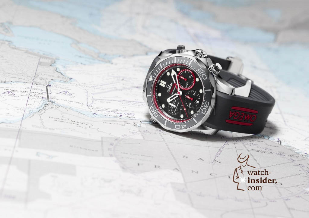 www.watch insider.com | reportages  | The Omega Regatta Watches since 2000 | Omega Seamaster ETNZ Co Axial Chrono 212.32.44.50.01.001 limited Edition pr1 red 1024x724