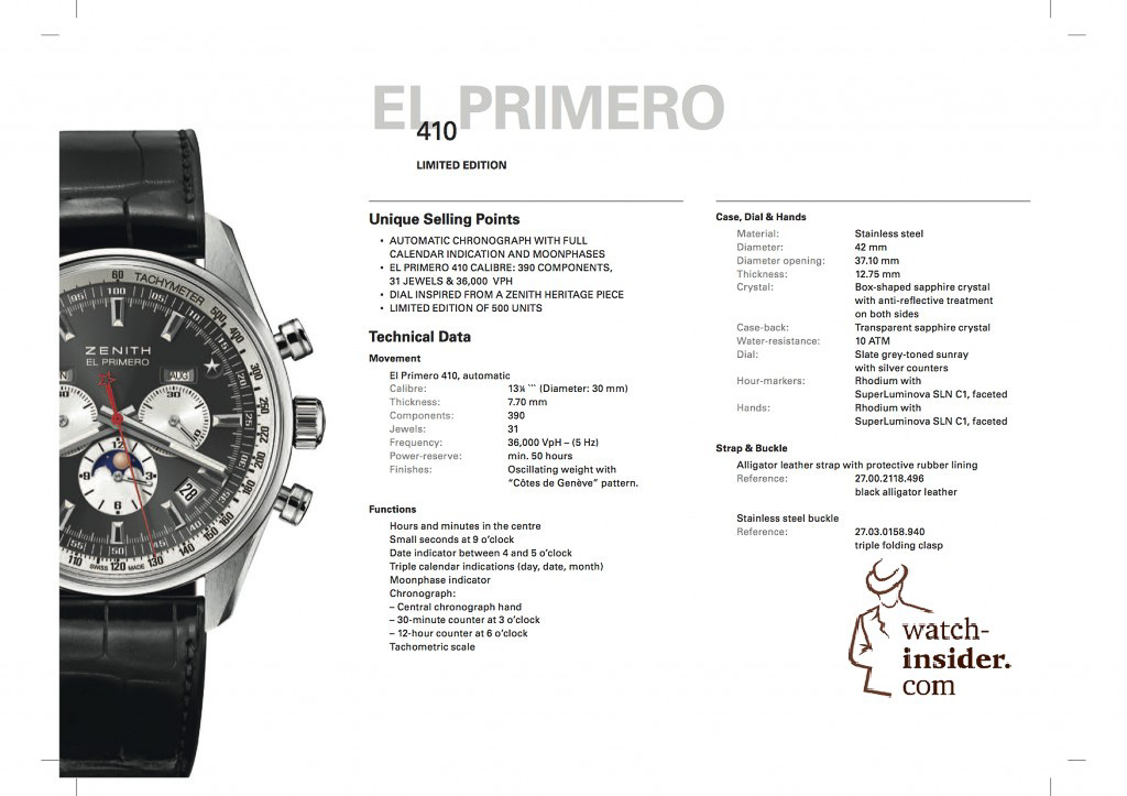 Zenith El Primero 410 Limited Edition ... the data sheet