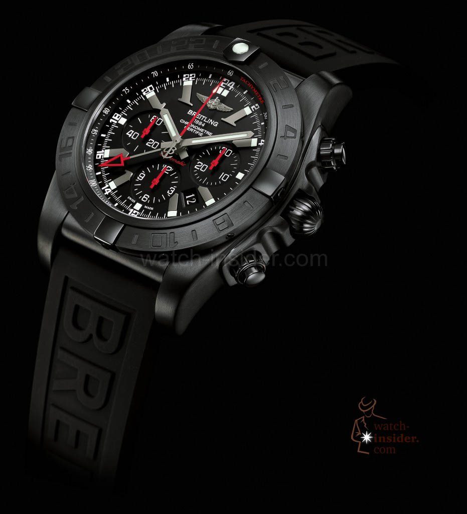 www.watch insider.com | reportages  | My 2013 top five all black watches | Breitling Chronomat GMT Black Steel1 931x1024