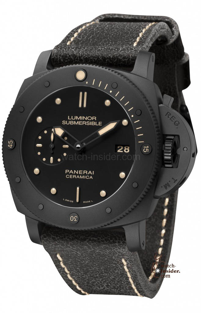 www.watch insider.com | reportages  | My 2013 top five all black watches | Panerai Luminor Submersible 1950 3 Days Ceramica PAM 508 658x1024