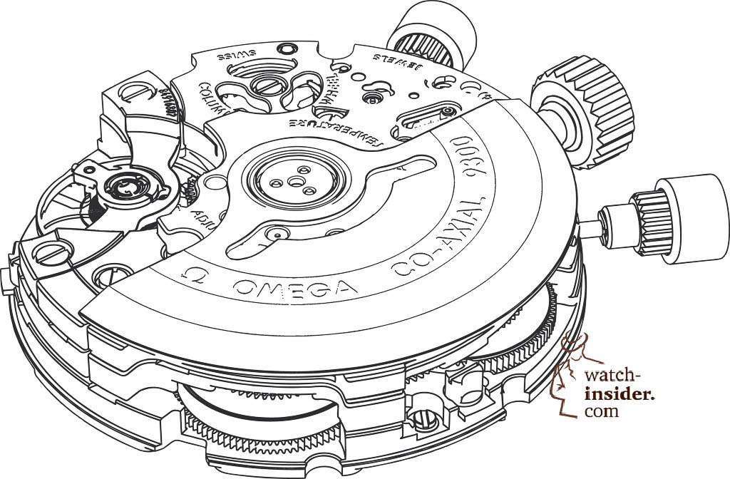 Omega Calibre-9300 drawing with the chronograph mechanism