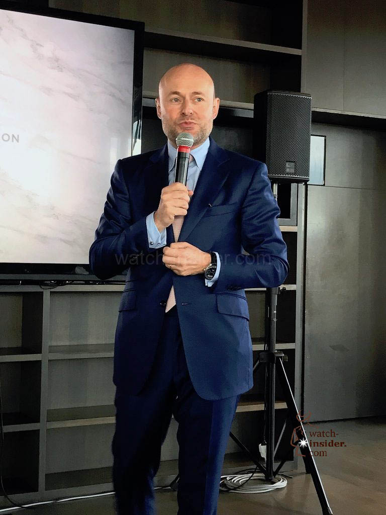 Georges Kern, CEO IWC Schaffhausen, during the DA Vinci presentation today in Florence.
