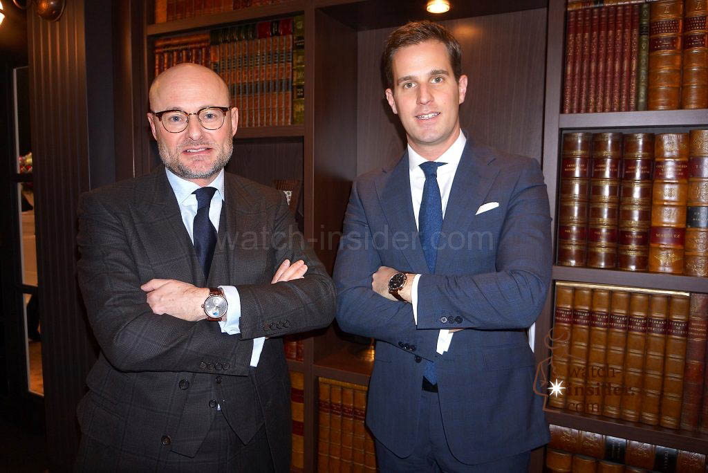 Georges Kern, Chris Granger-Herr, the old and new CEO of IWC Schaffhausen
